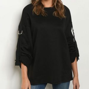 Buckled Roll Up Sleeves Laid Back Sweatshirt